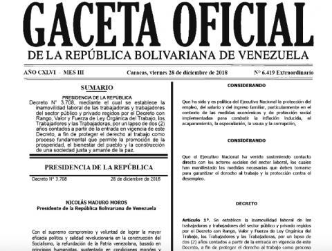 En Gaceta Oficial nueva extensión de Inamovilidad Laboral