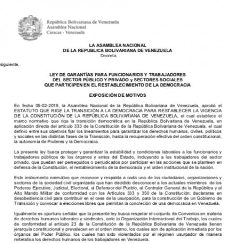 Nuevo Proyecto de Ley de Garantías Laborales