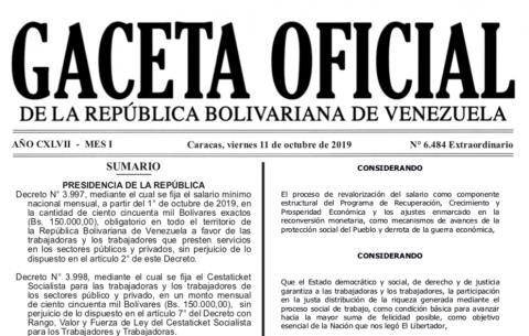 Publicados en Gaceta Oficial los Decretos de Salario Mínimo y Beneficio de Alimentación