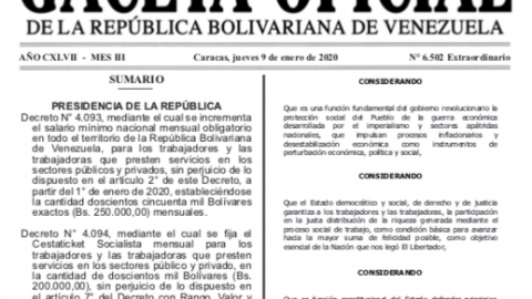 Nuevo Salario Mínimo Nacional: Bs. 250.000,00