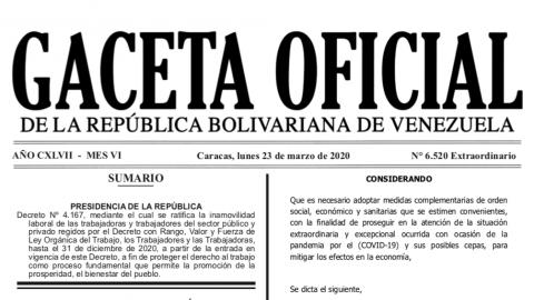 En Gaceta Oficial la ratificación de la inamovilidad laboral