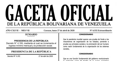 En Gaceta Oficial nuevo Salario Mínimo y Beneficio de Alimentación