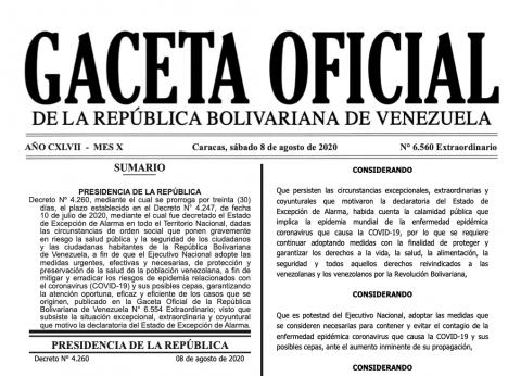 Nueva extensión del Estado de Excepción de Alarma en Gaceta Oficial
