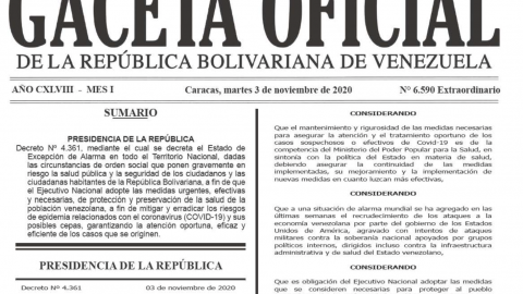 En Gaceta Oficial, Decreto de Estado de Excepción de Alarma (Covid-19) hasta el 3 de diciembre de 2020